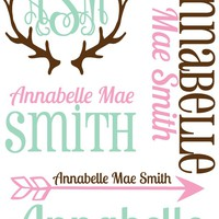 Personalized Baby Girl Blanket with Antler Design