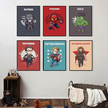 Batman Dark Knight gift Christmas Superhero Cute Character Cartoon Marvel Comics Batman Canvas Painting Art Print Poster Picture Wall Home Decoration AT_71_6
