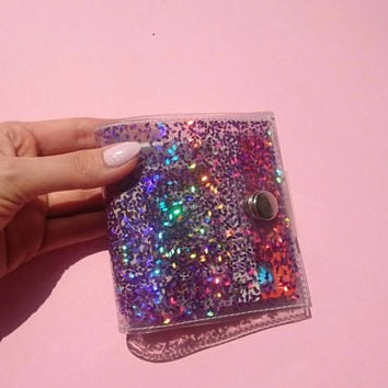 Holographic cute wallet pink purple Glitter wallet Business Card Holder Gift Card mermaid ID holder credit Card holder cashier wallet 90s