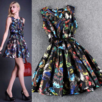 Butterfly Printed  Sleeveless Bow Tie Flounce A-Line Mini Dress
