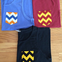 UF, FSU, and UCF chevron pocket on a Comfort Colors tank or t-shirt