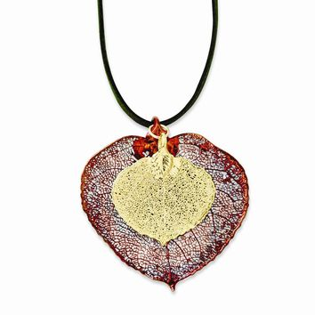 Iridescent Copper/24k Gold Dipped Double Aspen Leaf Necklace