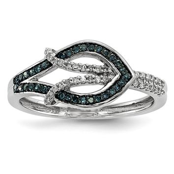 1/4 Cttw Blue & White Diamond Fish Ring in Sterling Silver