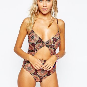 Motel Moroccan Topez Cut Out Swimsuit