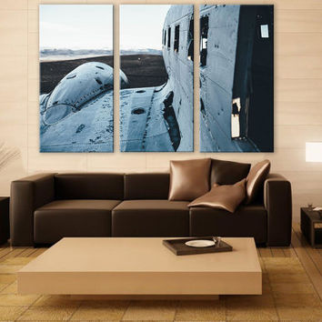 LARGE Old Airplane Canvas 3 Panels Giclee Print Fine Art Wall Decor Fine Art Photography Repro Print for Home and Office Wall Decoration