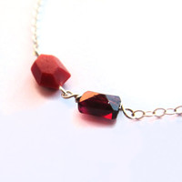 Geometric red bracelet, tiny garnet bracelet, sterling silver gemstone jewelry, small garnet bracelet, petite geo, little red jewelry