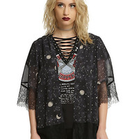 Black Lace Trim Constellation Print Kimono