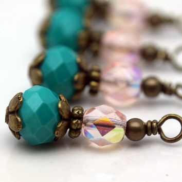 Vintage Style Turquoise Rondelle Crystal and Czech AB Bead Dangle Set