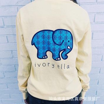 Women Long Sleeve Cute Elephant Pattern Sweatshirt Ivory Ella Letters Printed Pocket Pullover Tops Day-First™