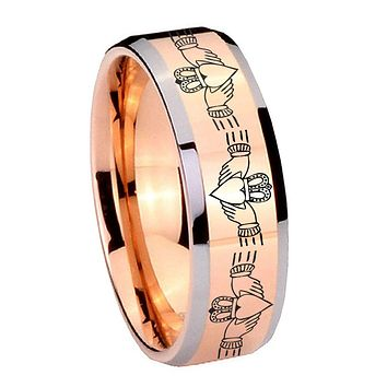 8MM Rose Gold Irish Claddagh Bevel Edges 2 Tone Tungsten laser Engraved Ring