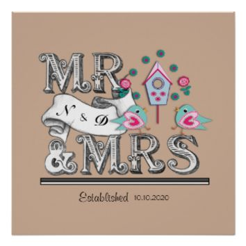 Special Mr and Mrs Cute Personalized Wedding Gift Poster