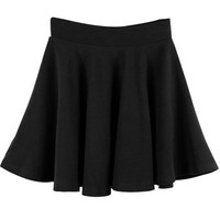 SlickBlue Womens Basic High Waisted Versatile Stretchy Flared Skater Skirt-Black