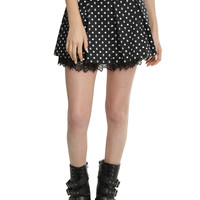 Black & White Skull Dot Pleated Skirt