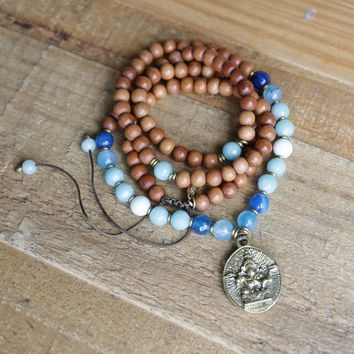 Sandalwood Throat Chakra Mala Necklace