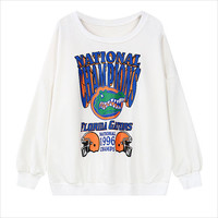 White Florida Gators Graphic Print Sweatshirt