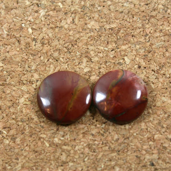 Red Creek Jasper Matched Pair - Red and Maroon Round Cabochon Beads, 1 pair