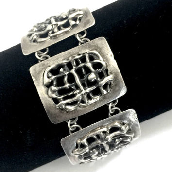 Modernist Sterling Silver Panel Bracelet, Brutalist Hand Crafted, Polish Hallmark, Statement Bracelet, Studio Sterling Silver, Gift for Her