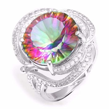 Regalia Genuine Rainbow Fire Mystic Topaz 15CT IOBI Precious Gems Ring