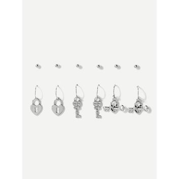 Key & Lock Dangle Earrings & Stud Earrings 6pairs