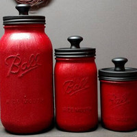 Red and Black Mason Jar Kitchen Canister Set - Kitchen Canister Set - Rustic Kitchen Canister Set - Farmhouse Kitchen Canister Set - Jar Set