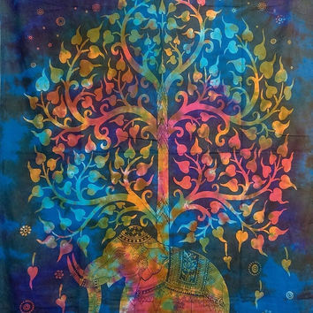 Multi tie dye Twin tree elephant Mandala Tapestry Indian Wall Hanging Bohemian Hippie boho bohomien Bedspread Throw home Decor