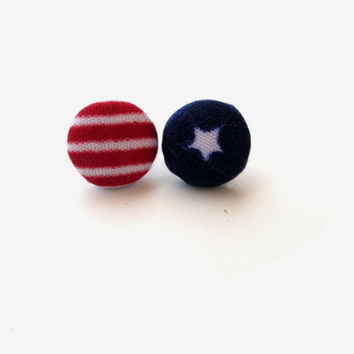 USA Fabric Button Earrings, Patriotic Earrings, Flag Earrings, Stars and Stripes, American Flag, Fourth of July