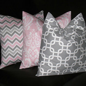 "Pillows Decorative Pillows TRIO Chain Link, Damask, Chevron 18x18 inch Throw Pillow Covers gray 18"" storm grey, baby pink, white"