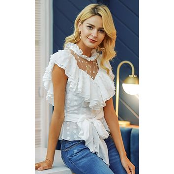 Beautiful Dreamer White Sheer Mesh Dot Short Sleeve Ruffle Mock Neck Tie Waist Blouse Top