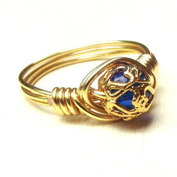 Cobalt Blue Ring  Gold Wire Wrapped Ring Gold by SherryKayDesigns