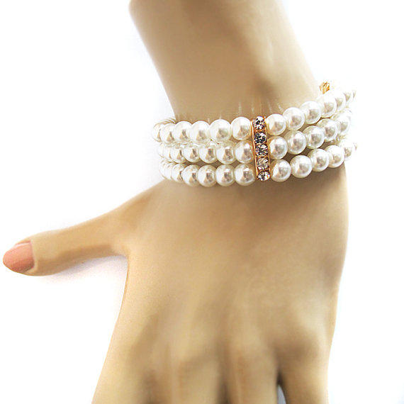 Wedding Gift Jewelry Suggestions : Bridal Bracelet, Pearl, Wedding Bracelet, from selenayselenay on