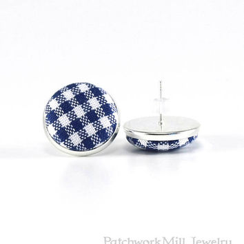 Blue Stud Earrings, White Gingham Earring Studs, Classic Fabric Buttons Jewelry, Elegant Earring Posts, Button Earring, Silver Toned Jewelry