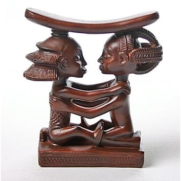 Luba Couple West African Congo Wedding Headrest Statue Man Woman 5.25H