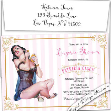 Lingerie bridal bachelorette shower party invitation retro bride hens party turquoise pink gold personalized custom diy printable or printed