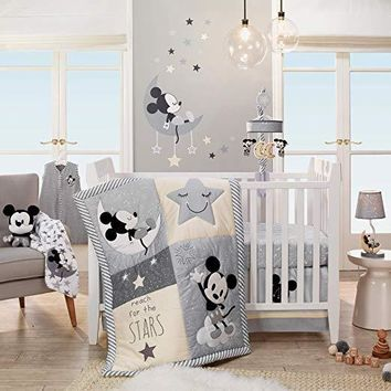 Lambs & Ivy Disney Baby Mickey Mouse Gray/Yellow 4-Piece Crib Bedding Set