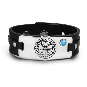Secret Seal of Solomon Protection Magic Powers Amulet Simulated Turquoise Leather Bracelet