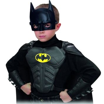 2017 Halloween Party Cosplay Batman Costumes Children Clothing Kids Superhero Mask+Cape+Wristguard+Breastplate Brand New DS29