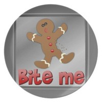 PLATE BITE ME GINGERBREAD MAN CHRISTMAS