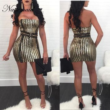 NATTEMAID Strapless 2018 Summer Dress Sexy Bodycon Clubwear Party Sequin Dresses Women Off Shoulder Mini Dress Clearance Sale