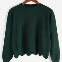 Dark Green Round Neck Crop Sweater