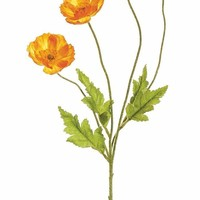 "Artificial Poppy Flowers in Orange - 23.5"" Tall"