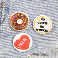 Chocolate Frosted Donut 1.25 Inch Pin Back Button Badge