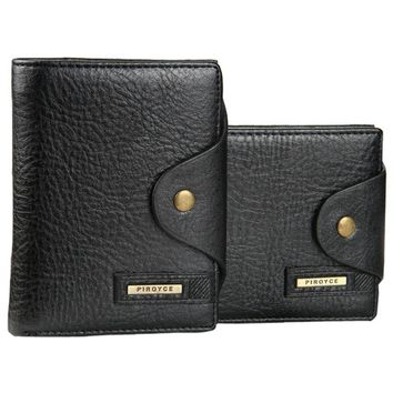 Genuiner leather Men's wallet with coin pocket man money bag hasp card holder purse for male
