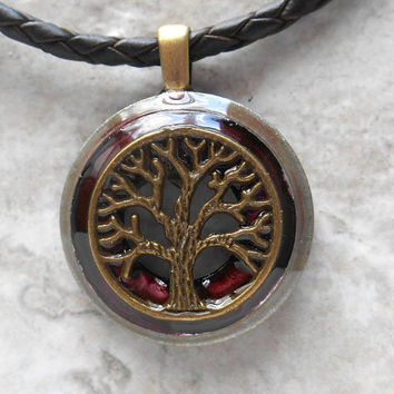tree of life necklace: wine - mens necklace - mens jewelry - celtic jewelry - tree necklace - man gift - unique jewelry - leather cord
