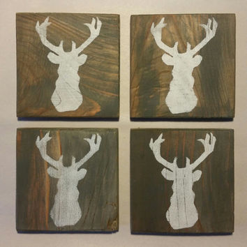 Deer Coasters, Painted Wood Coasters, Deer Silhouette Wood Coasters, Deer Outline, Buck Coasters, Wood Coasters, Custom Coasters, Rustic
