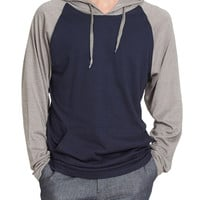 LE3NO Mens Lightweight Color Block Raglan Pullover Hoodie Shirt