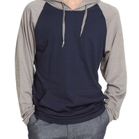 Mens Lightweight Color Block Raglan Pullover Hoodie Shirt