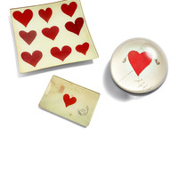 Sealed with Love Tray, Heart Kite Dome Paperweight, & Hearts Tray