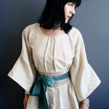 The Innocents - iheartfink Handmade Natural Linen Bell Sleeve Womens Kimono Tunic Dress