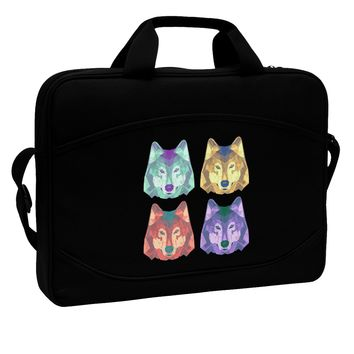 "Geometric Wolf Head Pop Art 15"" Dark Laptop / Tablet Case Bag by TooLoud"