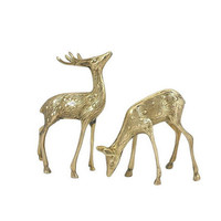 Brass Deer Set Spotted Buck Doe Vintage Woodland Animal Figurines Antlers Mantle Home Office Bookshelf Decor Pair Statuettes Christmas